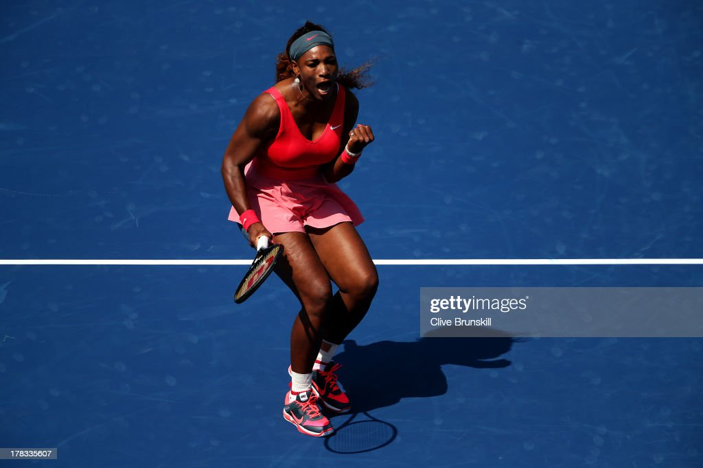 <a gi-track='captionPersonalityLinkClicked' href=/galleries/search?phrase=Serena+Williams&family=editorial&specificpeople=171101 ng-click='$event.stopPropagation()'>Serena Williams</a> of the United States of America celebrates a point during her women's singles second round match against Galina Voskoboeva of Kazakhstan on Day Four of the 2013 US Open at USTA Billie Jean King National Tennis Center on August 29, 2013 in the Flushing neighborhood of the Queens borough of New York City.