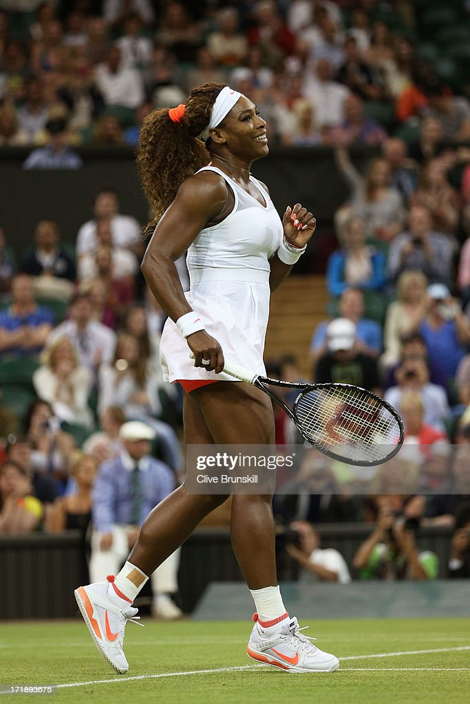 <a gi-track='captionPersonalityLinkClicked' href=/galleries/search?phrase=Serena+Williams&family=editorial&specificpeople=171101 ng-click='$event.stopPropagation()'>Serena Williams</a> of the United States of America celebrates match point during the Ladies' Singles third round match against Kimiko Date-Krumm of Japan on day six of the Wimbledon Lawn Tennis Championships at the All England Lawn Tennis and Croquet Club on June 29, 2013 in London, England.
