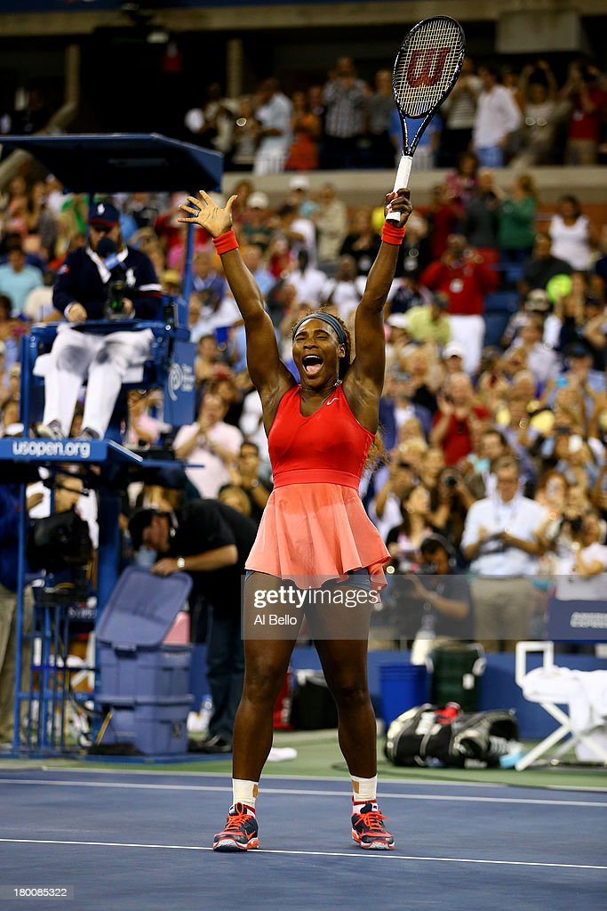 <a gi-track='captionPersonalityLinkClicked' href=/galleries/search?phrase=Serena+Williams&family=editorial&specificpeople=171101 ng-click='$event.stopPropagation()'>Serena Williams</a> of the United States of America celebrates winning her women's singles final match against Victoria Azarenka of Belarus on Day Fourteen of the 2013 US Open at the USTA Billie Jean King National Tennis Center on September 8, 2013 in the Flushing neighborhood of the Queens borough of New York City.