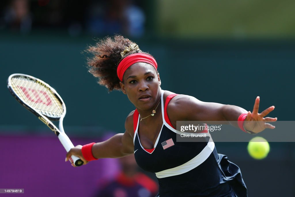 Serena Williams of the United States of America competes against Maria Sharapova of Russia during the gold medal match of the Women's Singles Tennis...