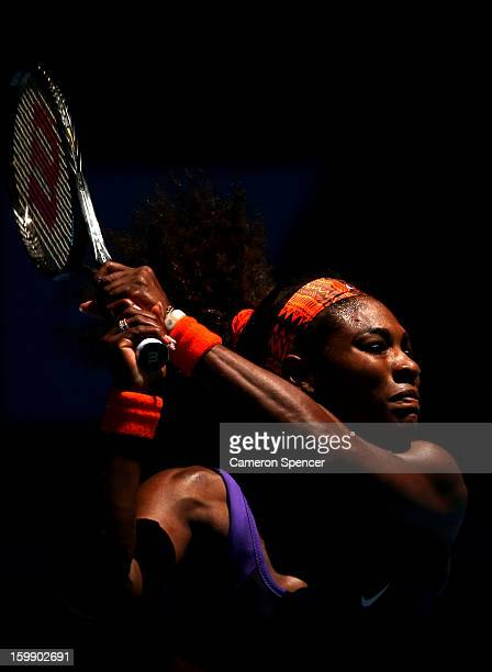 Serena Williams of the United States of America plays a backhand in her Quarterfinal match against Sloane Stephens of the United States of America...