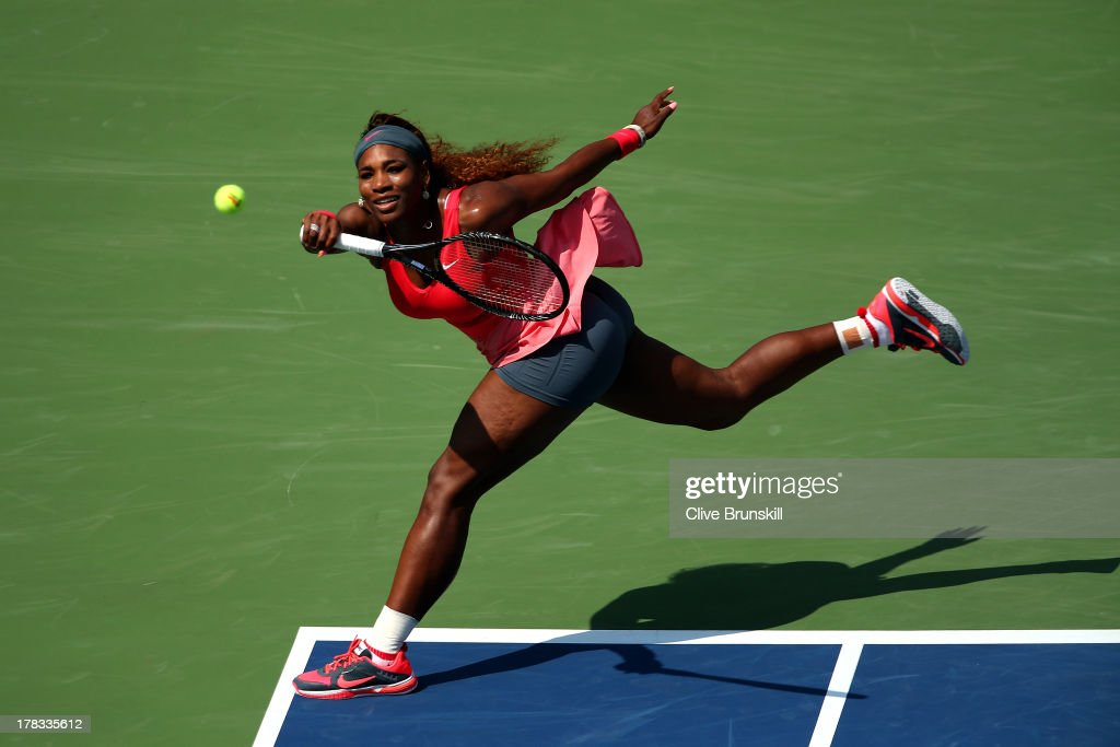 <a gi-track='captionPersonalityLinkClicked' href=/galleries/search?phrase=Serena+Williams&family=editorial&specificpeople=171101 ng-click='$event.stopPropagation()'>Serena Williams</a> of the United States of America plays a forehand during her women's singles second round match against Galina Voskoboeva of Kazakhstan on Day Four of the 2013 US Open at USTA Billie Jean King National Tennis Center on August 29, 2013 in the Flushing neighborhood of the Queens borough of New York City.