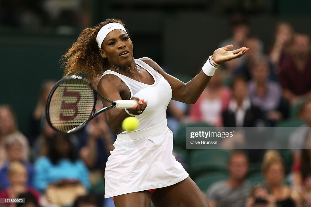 <a gi-track='captionPersonalityLinkClicked' href=/galleries/search?phrase=Serena+Williams&family=editorial&specificpeople=171101 ng-click='$event.stopPropagation()'>Serena Williams</a> of the United States of America plays a forehand during the Ladies' Singles third round match against Kimiko Date-Krumm of Japan on day six of the Wimbledon Lawn Tennis Championships at the All England Lawn Tennis and Croquet Club on June 29, 2013 in London, England.