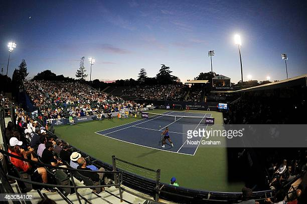 Serena Williams of the United States of America plays against Ana Ivanovic of Serbia during Day 5 of the Bank of the West Classic at the Taube Family...