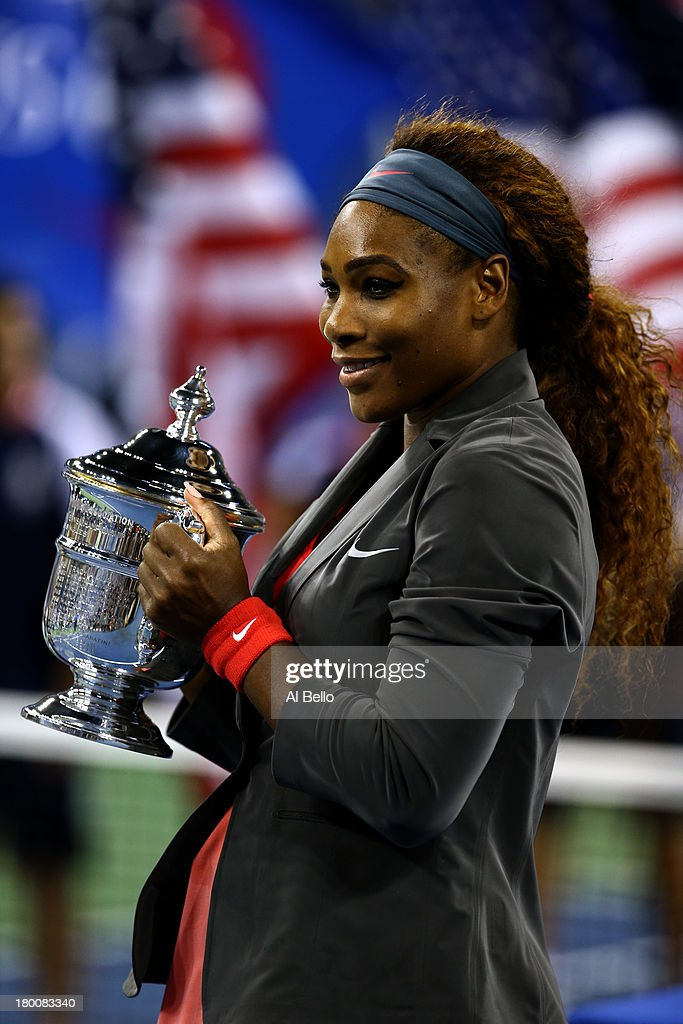 <a gi-track='captionPersonalityLinkClicked' href=/galleries/search?phrase=Serena+Williams&family=editorial&specificpeople=171101 ng-click='$event.stopPropagation()'>Serena Williams</a> of the United States of America poses with the trophy after winning her women's singles final match against Victoria Azarenka of Belarus on Day Fourteen of the 2013 US Open at the USTA Billie Jean King National Tennis Center on September 8, 2013 in the Flushing neighborhood of the Queens borough of New York City.