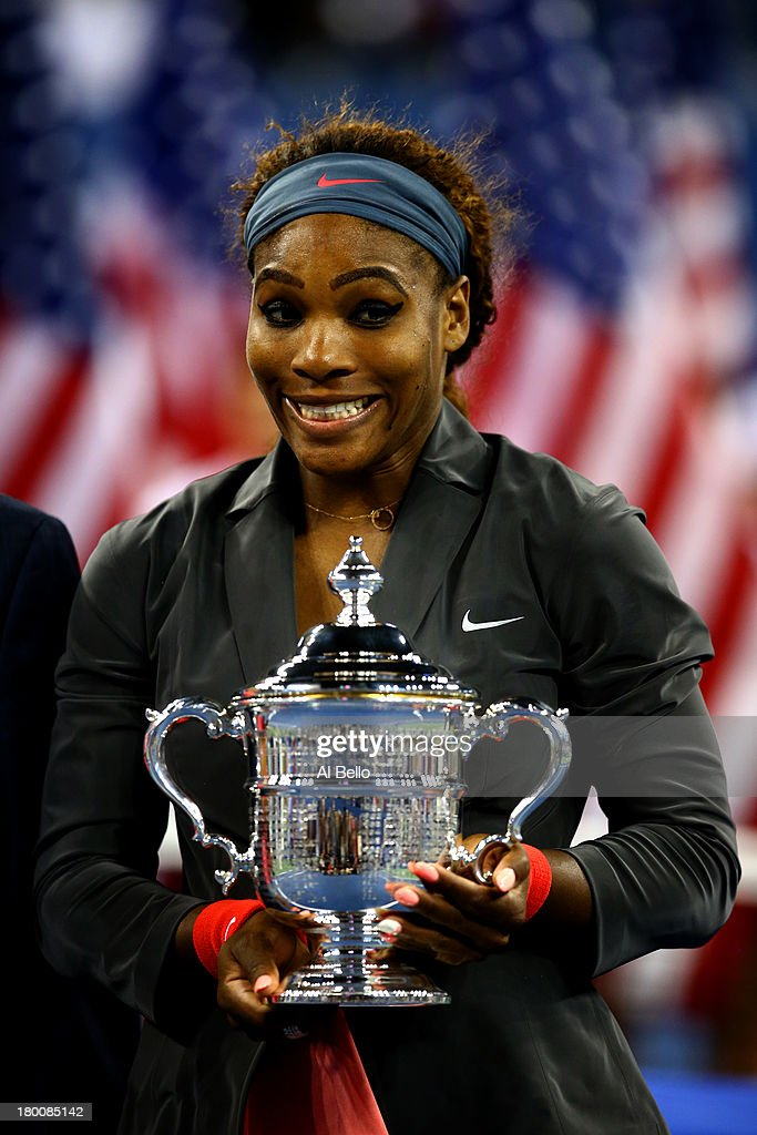 <a gi-track='captionPersonalityLinkClicked' href=/galleries/search?phrase=Serena+Williams+-+Tennis+Player&family=editorial&specificpeople=171101 ng-click='$event.stopPropagation()'>Serena Williams</a> of the United States of America poses with the trophy after winning her women's singles final match against Victoria Azarenka of Belarus on Day Fourteen of the 2013 US Open at the USTA Billie Jean King National Tennis Center on September 8, 2013 in the Flushing neighborhood of the Queens borough of New York City.