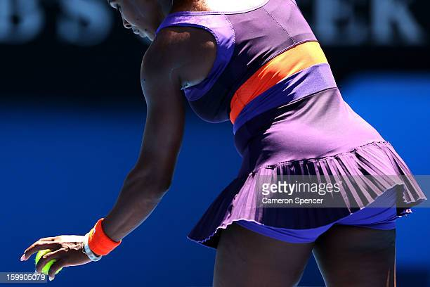 Serena Williams of the United States of America prepares to serve in her Quarterfinal match against Sloane Stephens of the United States of America...