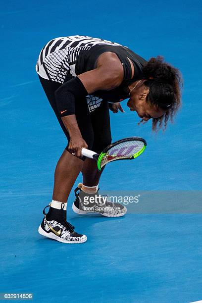 Serena Williams of the United States of America smashes her racquet in frustration during the Womens Singles Final of the 2017 Australian Open on...