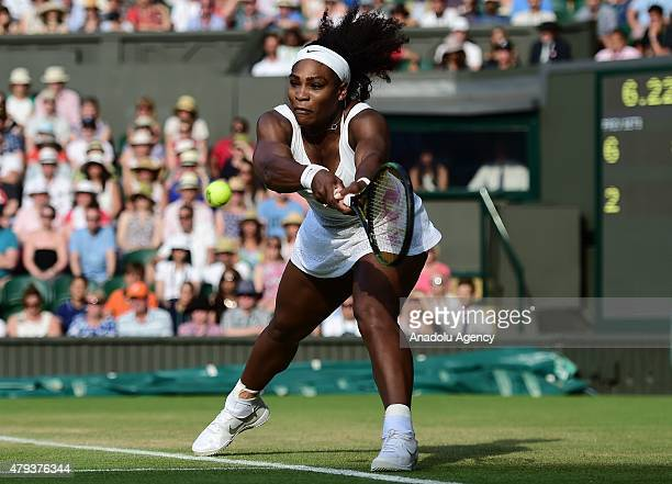 Serena Williams of the United States plays a backhand against Heather Watson of Great Britain during day five of the Wimbledon Lawn Tennis...