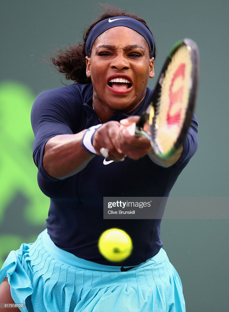 Williams (IA) United States  City pictures : Serena Williams of the United States plays a backhand against ...