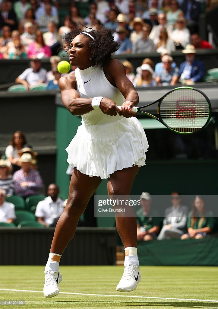 <a gi-track='captionPersonalityLinkClicked' href=/galleries/search?phrase=Serena+Williams+-+Tennis+Player&family=editorial&specificpeople=171101 ng-click='$event.stopPropagation()'>Serena Williams</a> of The United States plays a backhand during the Ladies Singles first round match against Amra Sadikovic of Switzerland on day two of the Wimbledon Lawn Tennis Championships at the All England Lawn Tennis and Croquet Club on June 28, 2016 in London, England.