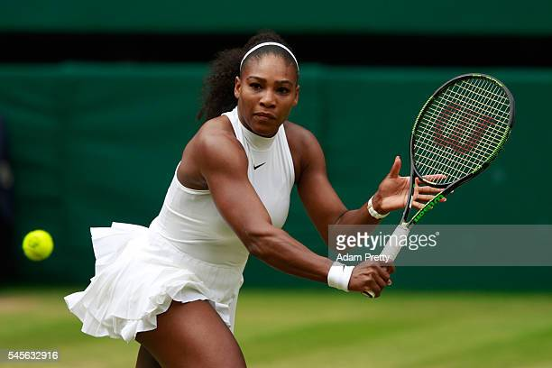 Serena Williams of The United States plays a backhand during The Ladies Singles Final against Angelique Kerber of Germany on day twelve of the...