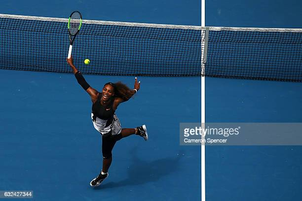 Serena Williams of the United States plays a backhand in her fourth round match against Barbora Strycova of the Czech Republic on day eight of the...