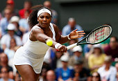 Serena Williams of the United States plays a backhand in her Ladies' Singles Fourth Round match against Venus Williams of the United States during...
