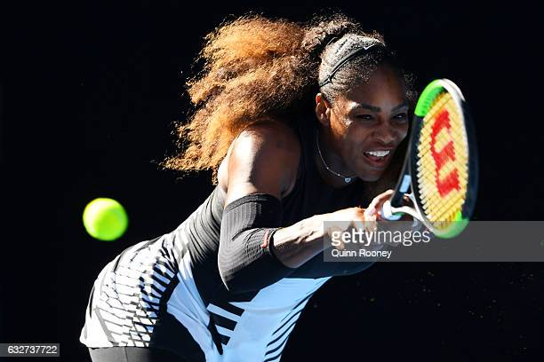 Serena Williams of the United States plays a backhand in her semifinal match against Mirjana LucicBaroni of Croatia on day 11 of the 2017 Australian...
