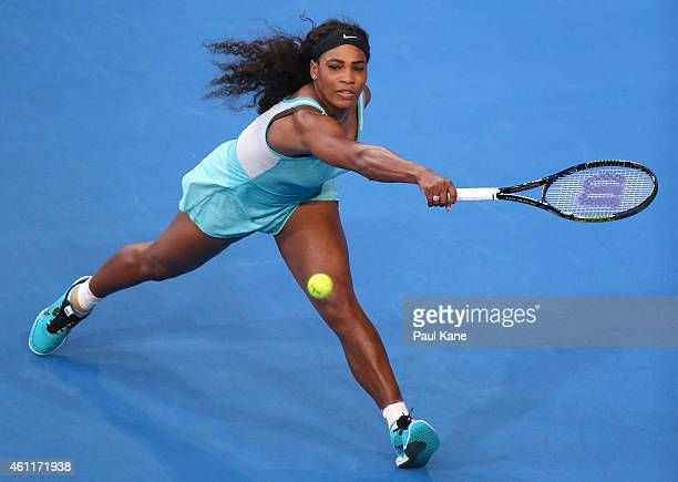 Serena Williams of the United States plays a backhand in her singles match against Lucie Safarova of the Czech Republic during day five of the 2015...