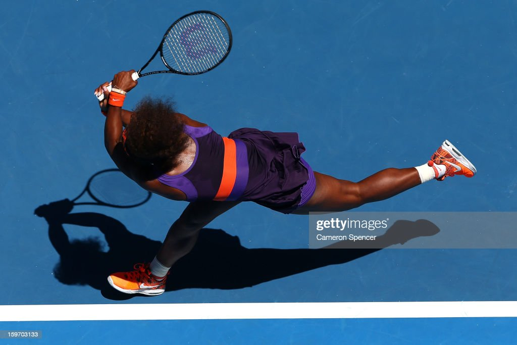 Serena Williams of the United States plays a backhand in her third round match against Ayumi Morita of Japan during day six of the 2013 Australian Open at Melbourne Park on January 19, 2013 in Melbourne, Australia.
