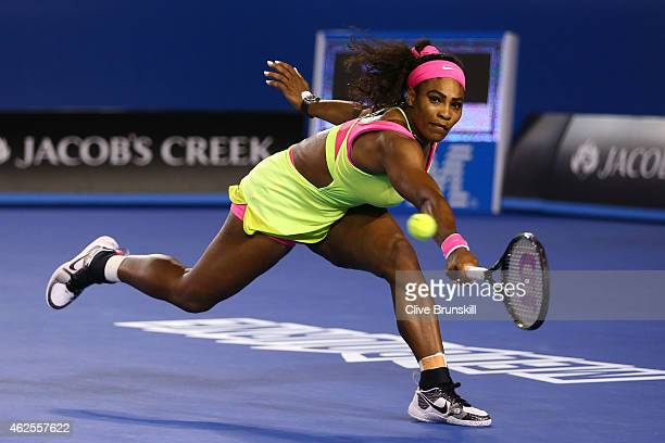 Serena Williams of the United States plays a backhand in her women's final match against Maria Sharapova of Russia during day 13 of the 2015...