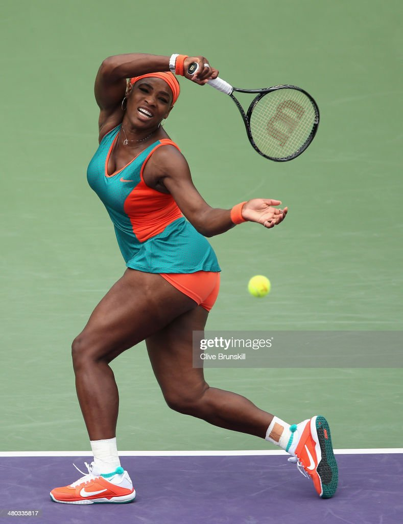 <a gi-track='captionPersonalityLinkClicked' href=/galleries/search?phrase=Serena+Williams+-+Tennis+Player&family=editorial&specificpeople=171101 ng-click='$event.stopPropagation()'>Serena Williams</a> of the United States plays a forehand against Coco Vandeweghe of the United States during their fourth round match during day 8 at the Sony Open at Crandon Park Tennis Center on March 24, 2014 in Key Biscayne, Florida.
