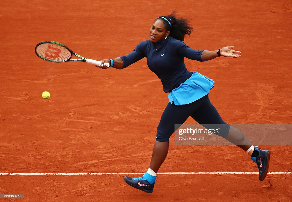 <a gi-track='captionPersonalityLinkClicked' href=/galleries/search?phrase=Serena+Williams&family=editorial&specificpeople=171101 ng-click='$event.stopPropagation()'>Serena Williams</a> of the United States plays a forehand during the Women's Singles first round match against Magdalena Rybarikova of Slovakia on day three of the 2016 French Open at Roland Garros on May 24, 2016 in Paris, France.