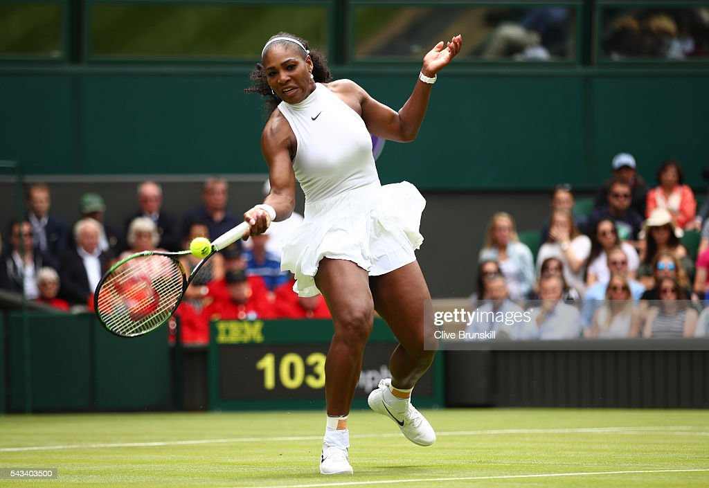 <a gi-track='captionPersonalityLinkClicked' href=/galleries/search?phrase=Serena+Williams+-+Tennis+Player&family=editorial&specificpeople=171101 ng-click='$event.stopPropagation()'>Serena Williams</a> of The United States plays a forehand during the Ladies Singles first round match against Amra Sadikovic of Switzerland on day two of the Wimbledon Lawn Tennis Championships at the All England Lawn Tennis and Croquet Club on June 28, 2016 in London, England.