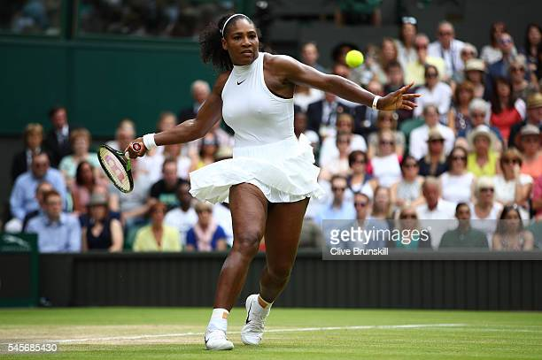 Serena Williams of The United States plays a forehand during The Ladies Singles Final against Angelique Kerber of Germany on day twelve of the...