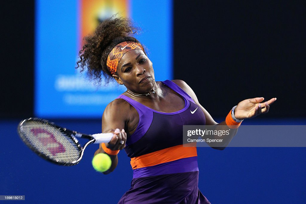 Serena Williams of the United States plays a forehand in her fourth round match against Maria Kirilenko of Russia during day eight of the 2013 Australian Open at Melbourne Park on January 21, 2013 in Melbourne, Australia.