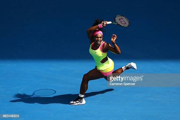 Serena Williams of the United States plays a forehand in her semifinal match against Madison Keys of the United States during day 11 of the 2015...