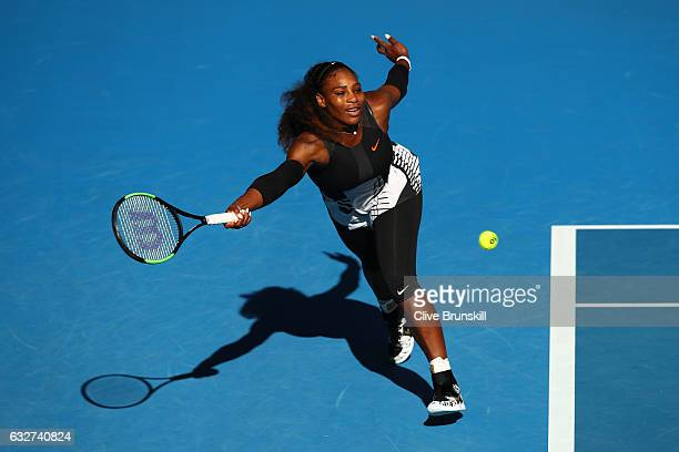 Serena Williams of the United States plays a forehand in her semifinal match against Mirjana LucicBaroni of Croatia on day 11 of the 2017 Australian...