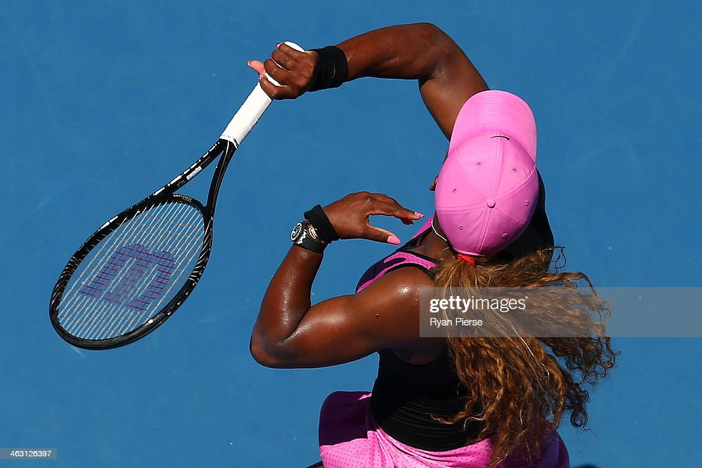 Serena Williams of the United States plays a forehand in her third round match against Daniela Hantuchova of Slovakia during day five of the 2014 Australian Open at Melbourne Park on January 17, 2014 in Melbourne, Australia.