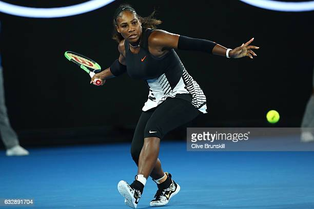 Serena Williams of the United States plays a forehand in her Women's Singles Final match against Venus Williams of the United States on day 13 of the...