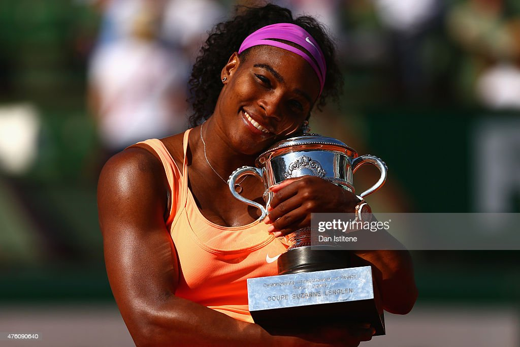 Serena Williams of the United States poses with the Coupe Suzanne Lenglen trophy after winning the Women's Singles Final against Lucie Safarova of Czech Republic on day fourteen of the 2015 French Open at Roland Garros on June 6, 2015 in Paris, France.