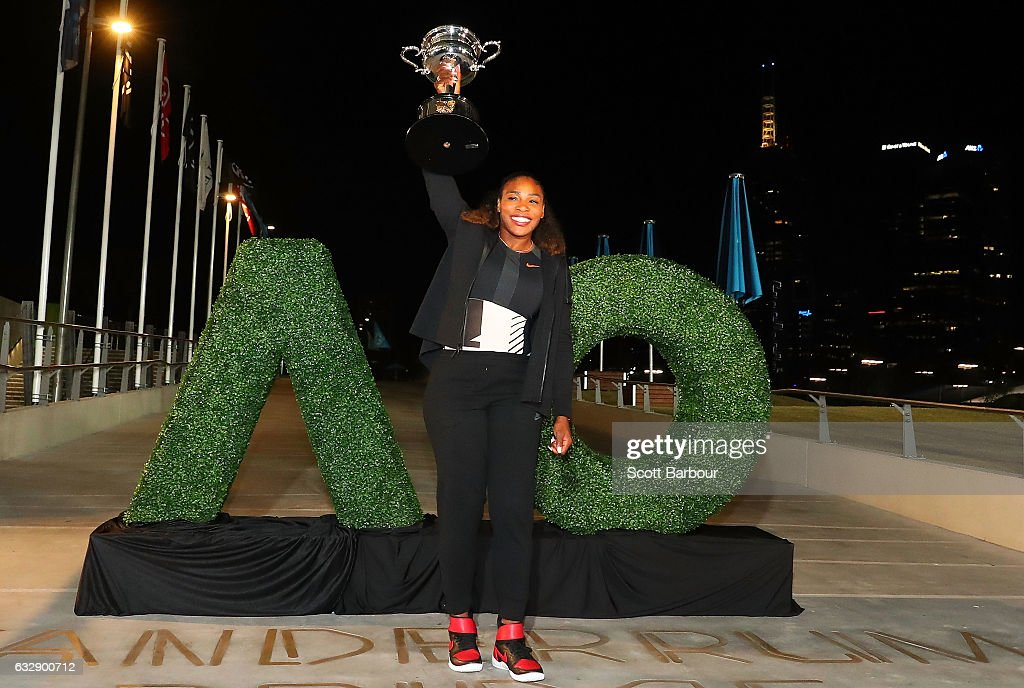 Serena Williams of the United States poses with the Daphne Akhurst Memorial Cup after winning the 2017 Women's Singles Australian Open Championship at Melbourne Park on January 28, 2017 in Melbourne, Australia.