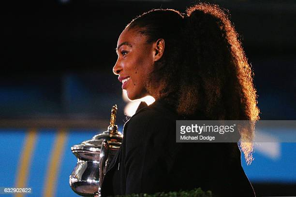 Serena Williams of the United States poses with the Daphne Akhurst Memorial Cup after winning the 2017 Women's Singles Australian Open Championship...