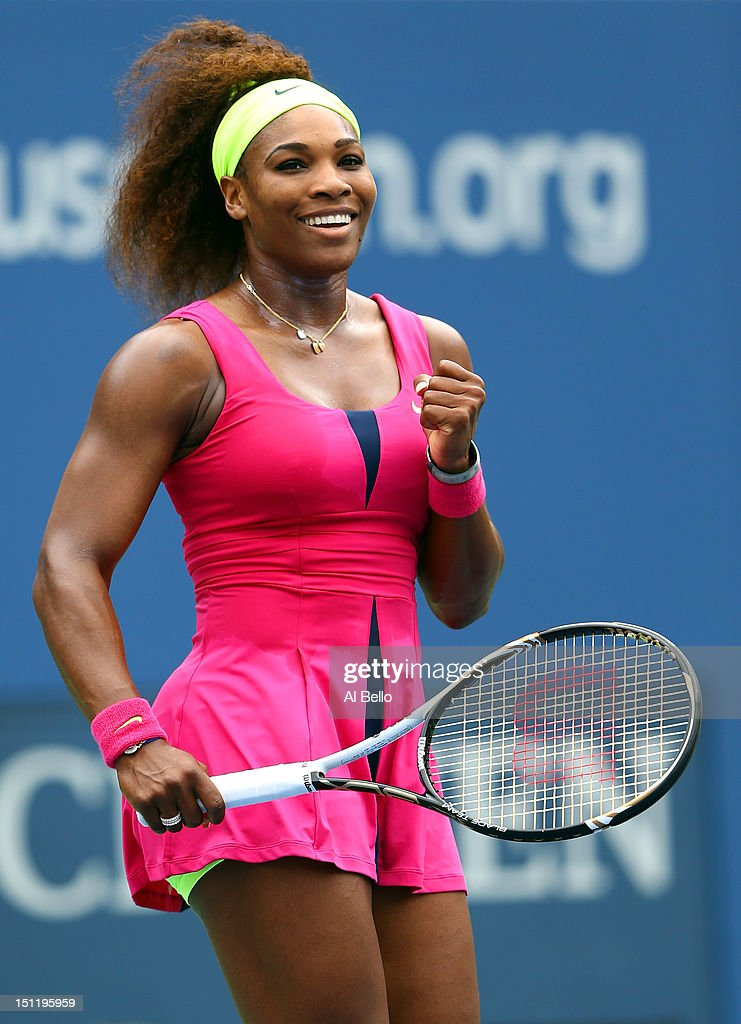 <a gi-track='captionPersonalityLinkClicked' href=/galleries/search?phrase=Serena+Williams&family=editorial&specificpeople=171101 ng-click='$event.stopPropagation()'>Serena Williams</a> of the United States reacts after defeating Andrea Hlavackova of Czech Republic during their women's singles fourth round match on Day Eight of the 2012 US Open at USTA Billie Jean King National Tennis Center on September 3, 2012 in the Flushing neighborhood of the Queens borough of New York City.