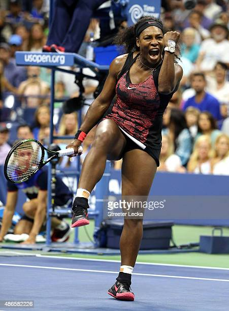 Serena Williams of the United States reacts after defeating Bethanie MattekSands of the United States during their Women's Singles Third Round match...