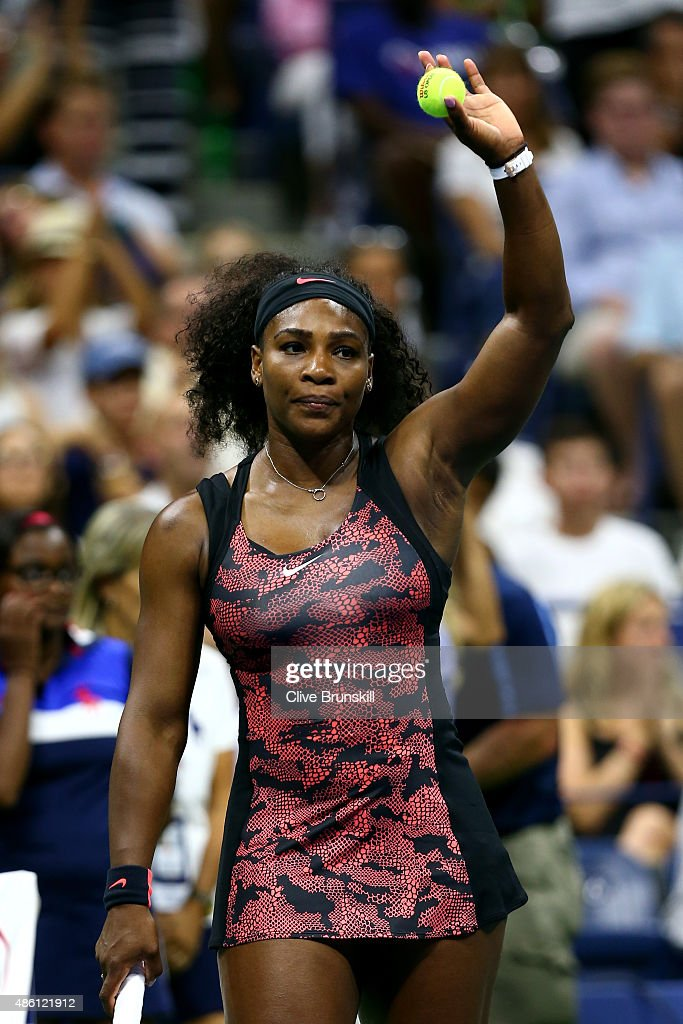 Serena Williams of the United States reacts after defeating Vitalia Diatchenko of Russian in their Women's Singles First Round match on Day One of...