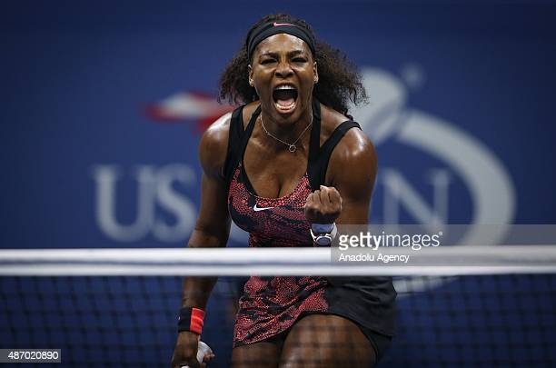 Serena Williams of the United States reacts against Bethanie MattekSands of the United States during their Women's Singles Third Round match on Day...