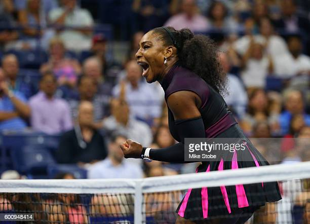 Serena Williams of the United States reacts against Karolina Pliskova of the Czech Republic during her Women's Singles Semifinal Match on Day Eleven...