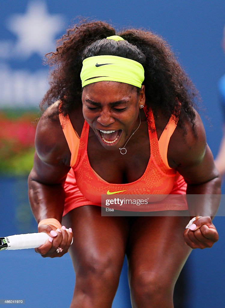 Serena Williams of the United States reacts against Kiki Bertens of the Netherlands during their Women's Singles Second Round match on Day Three of the 2015 US Open at the USTA Billie Jean King National Tennis Center on September 2, 2015 in the Flushing neighborhood of the Queens borough of New York City.