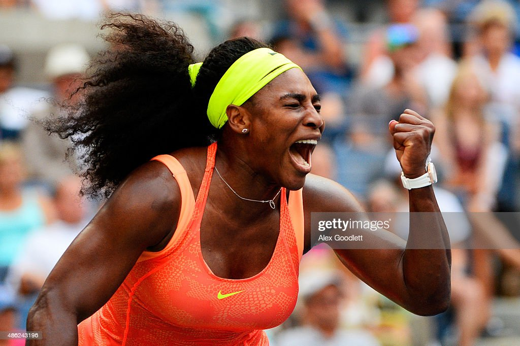 <a gi-track='captionPersonalityLinkClicked' href=/galleries/search?phrase=Serena+Williams&family=editorial&specificpeople=171101 ng-click='$event.stopPropagation()'>Serena Williams</a> of the United States reacts against Kiki Bertens of the Netherlands during their Women's Singles Second Round match on Day Three of the 2015 US Open at the USTA Billie Jean King National Tennis Center on September 2, 2015 in the Flushing neighborhood of the Queens borough of New York City.