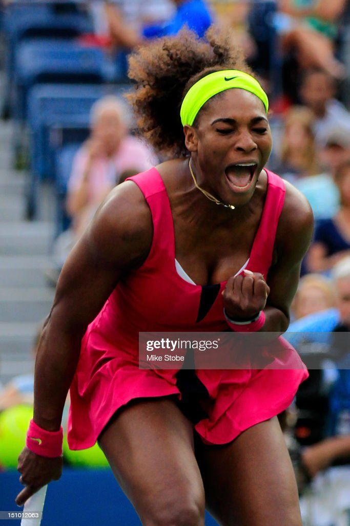 <a gi-track='captionPersonalityLinkClicked' href=/galleries/search?phrase=Serena+Williams&family=editorial&specificpeople=171101 ng-click='$event.stopPropagation()'>Serena Williams</a> of the United States reacts against Maria Jose Martinez Sanchez of Spain during their women's singles second round match on Day Four of the 2012 U.S. Open at the USTA Billie Jean King National Tennis Center on August 30, 2012 in the Flushing neighborhood, of the Queens borough of New York City.