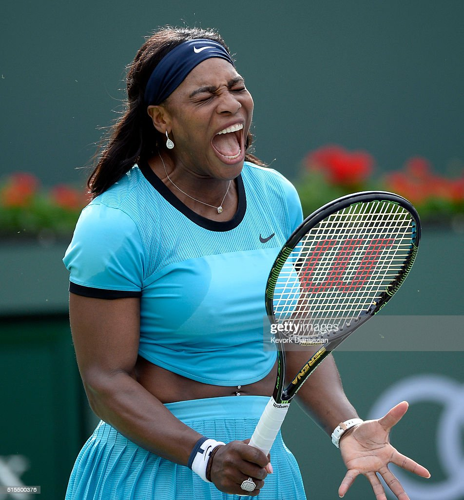 Serena Williams of the United States reacts against Yulia Putintseva of Kazakhstan during day seven of the BNP Paribas Open at Indian Wells Tennis...