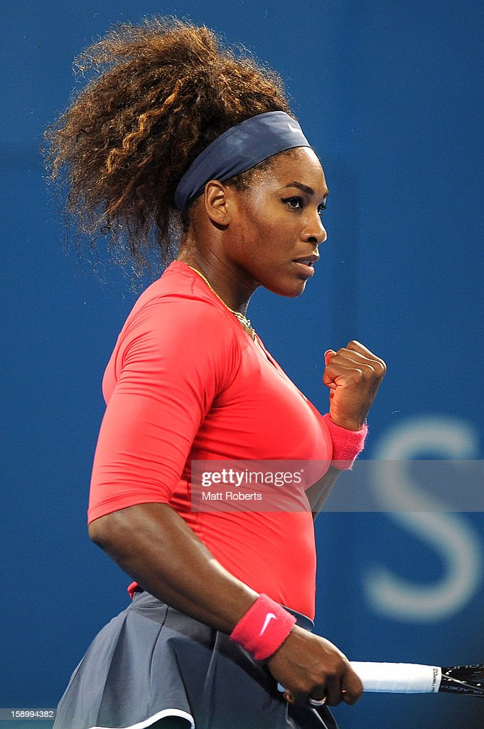 Serena Williams of the United States reacts during the final against Anastasia Pavlyuchenkova of Russia on day seven of the Brisbane International at Pat Rafter Arena on January 5, 2013 in Brisbane, Australia.