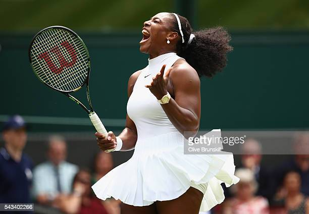 Serena Williams of The United States reacts during the Ladies Singles first round match against Amra Sadikovic of Switzerland on day two of the...