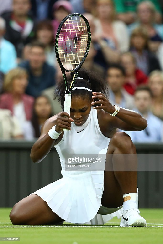 Serena Williams of The United States reacts during the Ladies Singles second round match against Christina McHale of the United States on day five of the Wimbledon Lawn Tennis Championships at the All England Lawn Tennis and Croquet Club on July 1, 2016 in London, England.