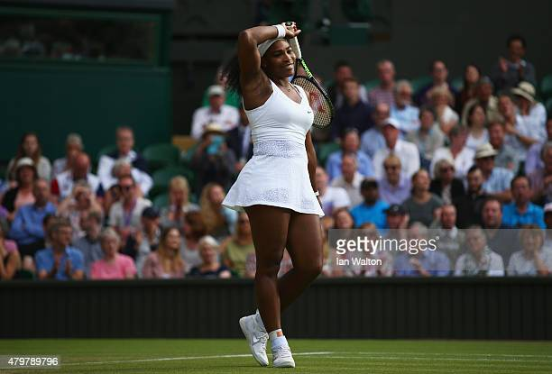 Serena Williams of the United States reacts in her Ladies Singles Quarter Final match against Victoria Azarenka of Belarus during day eight of the...