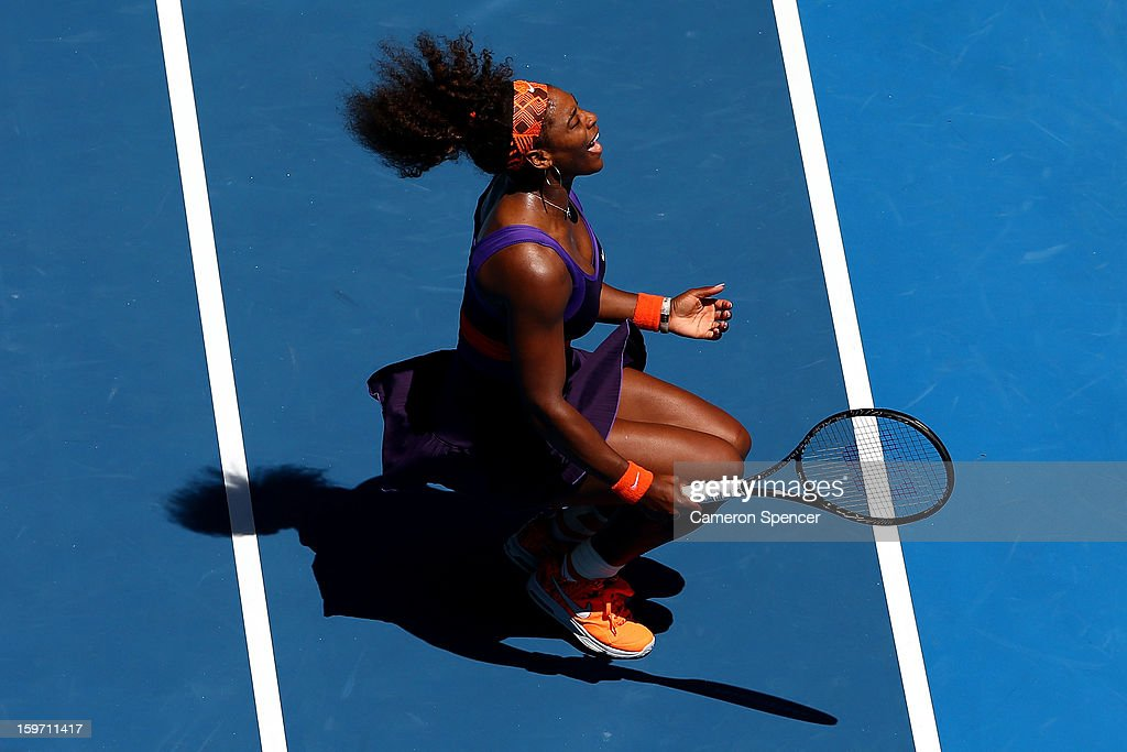 <a gi-track='captionPersonalityLinkClicked' href=/galleries/search?phrase=Serena+Williams&family=editorial&specificpeople=171101 ng-click='$event.stopPropagation()'>Serena Williams</a> of the United States reacts in her third round match against Ayumi Morita of Japan during day six of the 2013 Australian Open at Melbourne Park on January 19, 2013 in Melbourne, Australia.