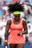 Serena Williams of the United States reacts to a point against Kiki Bertens of the Netherlands during their Women's Singles Second Round match on Day...