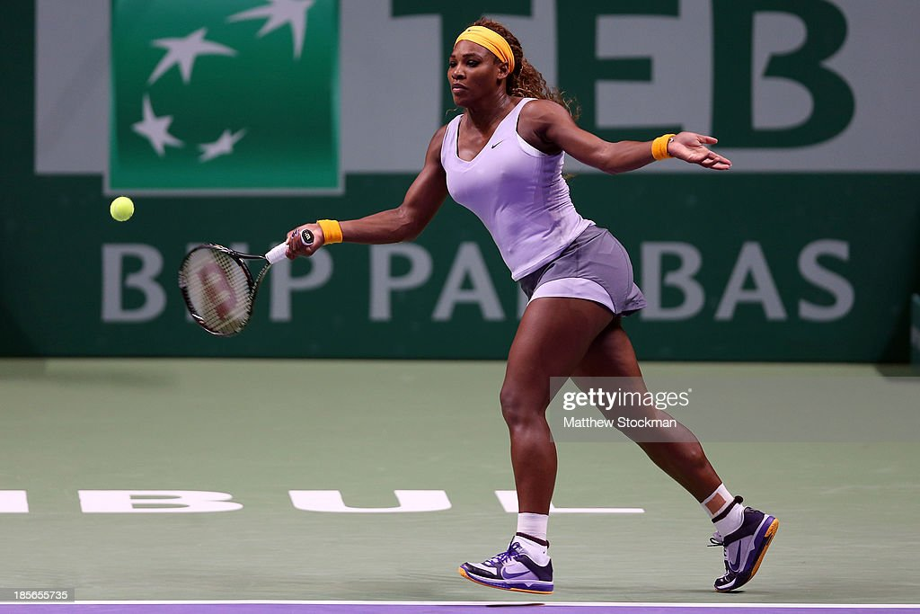<a gi-track='captionPersonalityLinkClicked' href=/galleries/search?phrase=Serena+Williams&family=editorial&specificpeople=171101 ng-click='$event.stopPropagation()'>Serena Williams</a> of the United States returns a sho to Agnieszka Radwanska of Poland during day two of the TEB BNP Paribas WTA Championships at the Sinan Erdem Dome on October 23, 2013 in Istanbul, Turkey.